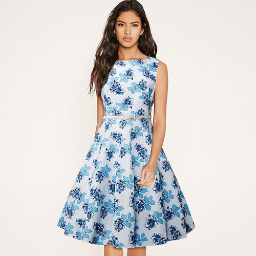 Kobiety Moda Floral Dress Okrągły Neck bez rękawów Swing Party 50-Hem Rockabilly Dress Light Blue