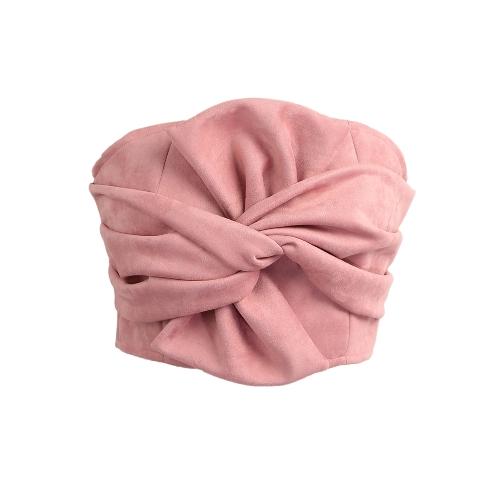 Top corto de ante con cuello redondo sin mangas, con cuello en V sin mangas, cremallera en la espalda, top sin mangas, rosa / gris