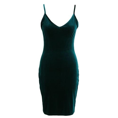 Las mujeres del resorte del terciopelo Slip vestido sin mangas del tirante de espagueti atractivo de la envoltura de Bodycon Clubwear