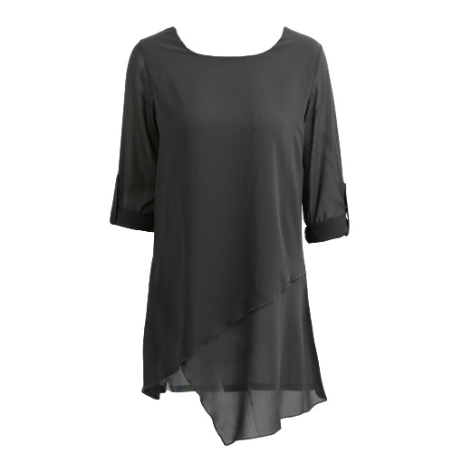 Las nuevas mujeres blusa de gasa dobladillo asimétrico de manga larga del O-Cuello sólido camisa floja ocasional Top Gris