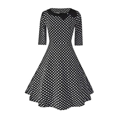Vestido Mulheres New Vintage Polka Dot Bow mangas meia em torno do pescoço Zipper cintura alta elegante A-Line Vestido