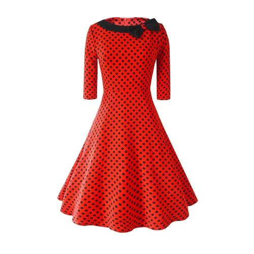 Vestido de las mujeres de la nueva vendimia del lunar del arco medias mangas de cuello redondo de la cremallera de cintura alta elegante una línea de vestidos