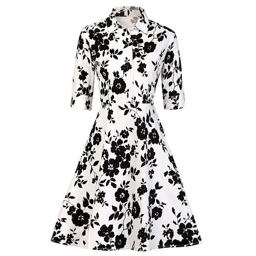Neue Frauen-Retro-Kleid Vintage 1950er 60er Rockabilly-Druck-Knopf Swing-elegante A-Line-Partei-Kleid Schwarz / Weiß