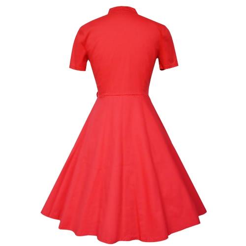 50s de las mujeres del estilo de la vendimia vestido retro del Rockabilly Dot swing elegante cóctel una línea de vestidos de rojo