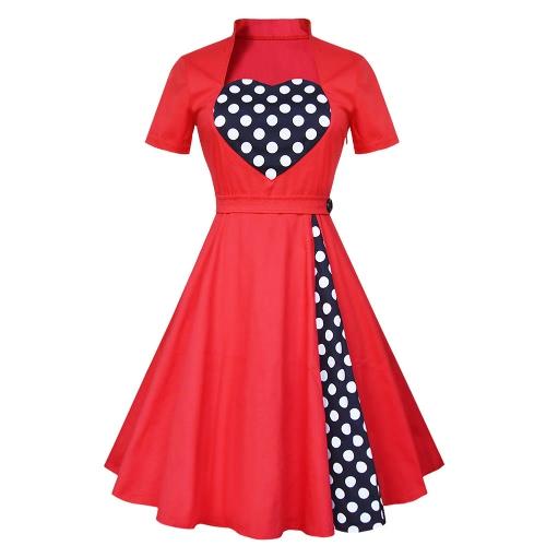 Frauen im Stil der 50er-Retro-Kleid-Weinlese-Rockabilly-Punkt-Schwingen-elegante A-Line Cocktailkleid Rot