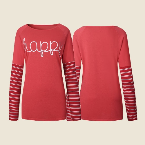 Women T-shirt Stripe Happy Letters Print Round Neck Long Sleeve Loose Plus Size Casual Tops Red, TOMTOP  - buy with discount