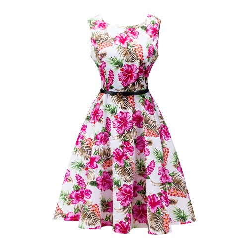 New Fashion Women Vintage Dress Floral Print O-Neck Sleeveless Elegant Party Ball Gown With Belt