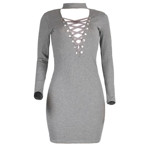 Kobiety Halter dzianiny Lace Up Sukienka V-Neck Długi Rękaw Casual BODYCON Dress Black / Grey