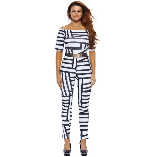Fashion Women Belted Off Shoulder Romper Overalls Rose Geometric Print Half Sleeve Jumpsuit Long Pants, TOMTOP  - buy with discount