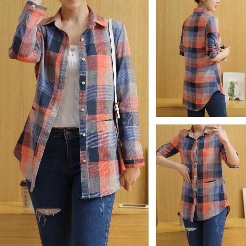 Neue Frauen-Plaid-Hemd Karo-Knopf Rolled-Hülsen-unregelmäßige plus Größen-beiläufige lange Bluse Tops