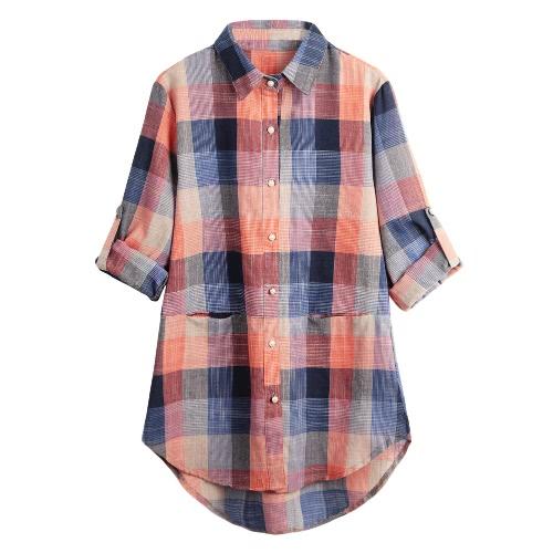 Nowej kobiet Plaid Shirt sprawdzić przycisk Rolled Sleeve Nieregularne Plus Rozmiar Casual Długa Bluzka Bluzki