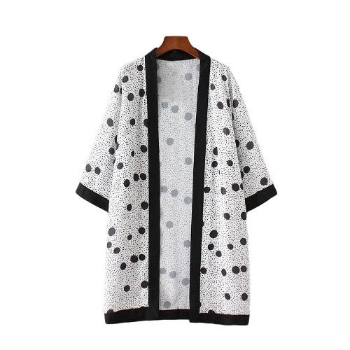 Escudo de la playa cubre para arriba Blanco Nueva gasa de las mujeres del kimono de la rebeca del lunar Impreso suelta prendas de vestir exteriores delgada