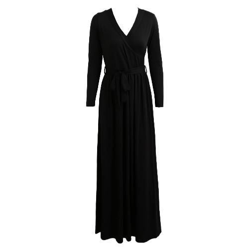Nuevo atractivo de las mujeres del vestido maxi hundiendo cuello en V manga larga con cinturón sólido delgado del partido del vestido de noche largo del vestido Negro