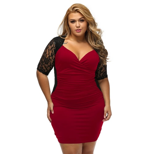 Mulheres Mini Vestido Plus Size Lace Ruched V Neck meia manga Elegante Sexy Evening Party Club One Piece