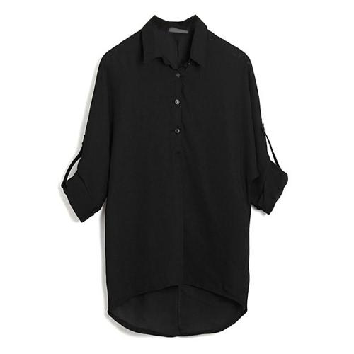 Primavera Donne camicetta di chiffon shirt manica lunga gira-giù asimmetrico allentato casuale Top Nero / Verde / Bianco