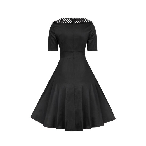 Women Vintage Dress Polka Dot O-Neck A-Line Short Sleeves High Waist Back Zipper Elegant Retro Dress Black/Burgundy, TOMTOP  - buy with discount