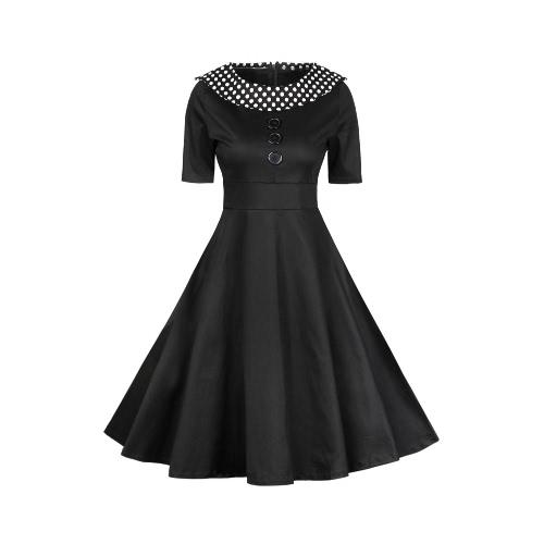 Maniche corte abbigliamento vintage Donne Pois O-Neck una linea vita alta chiusura lampo elegante retro vestito nero / Borgogna