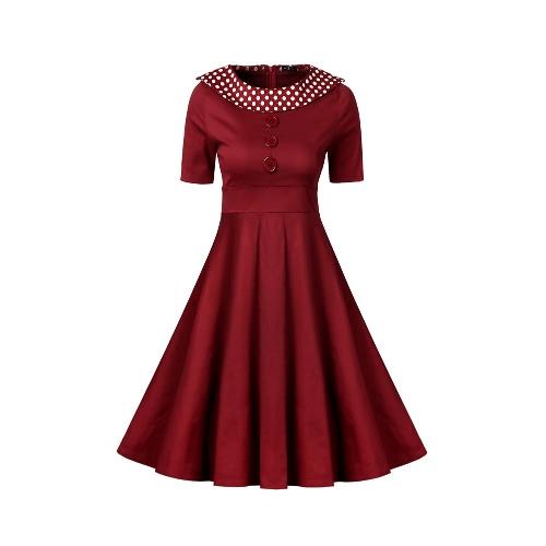 Vestido de las mujeres de la vendimia del lunar del O-cuello una línea de manga corta de la alta cintura trasera de la cremallera retro elegante vestido Negro / Borgoña