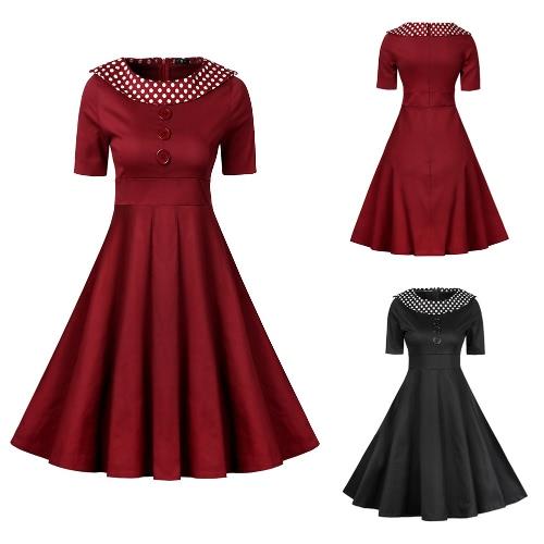 Women Vintage Dress Polka Dot O-Neck A-Line Short Sleeves High Waist Back Zipper Elegant Retro Dress Black/Burgundy
