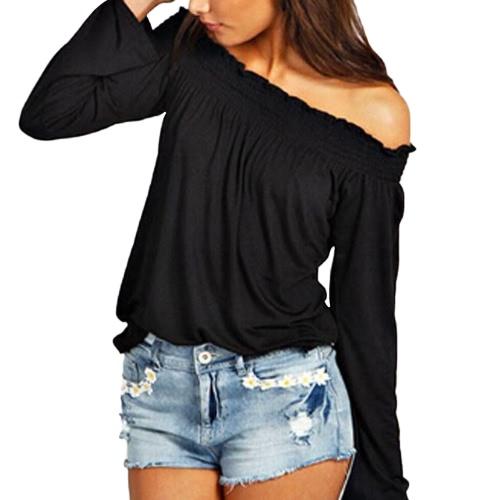 Las nuevas mujeres de la blusa elástico del hombro de la manga larga de color sólido ocasional de la camiseta T-Tops