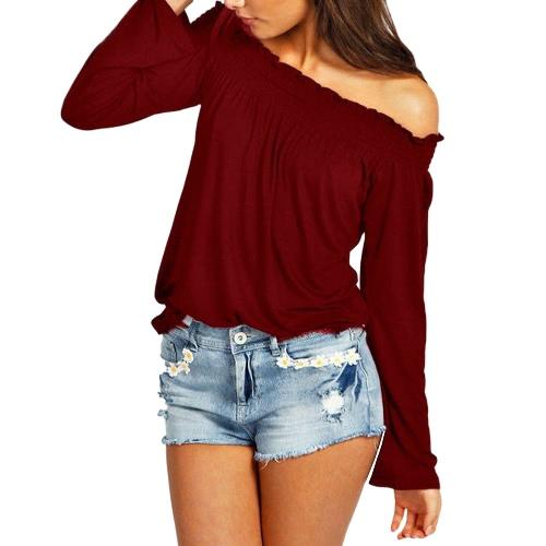Neue Art und Weise Frauen-Bluse Elastic weg von der Schulter Langarm Solid Color Casual T-Shirt Spitzen T