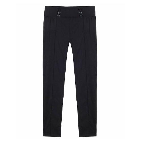 Nova Moda Mulheres Slim calças elásticas Baixo Botões cintura Calças Sexy Bodycon magro lápis Leggings
