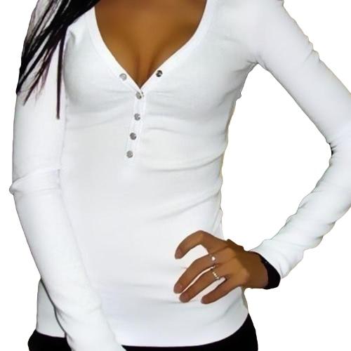 Mujeres Nueva camiseta de la manera cuello en V profundo Botones de manga larga de color sólido atractivo delgado de las tapas ocasionales de las camisetas