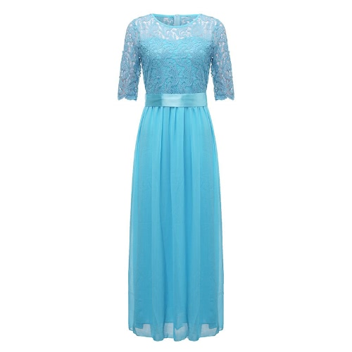 Women Dress Lace Chiffon Half Sleeve Slim Maxi Long Gown Elegant Princess Evening Party One-Piece, TOMTOP  - buy with discount