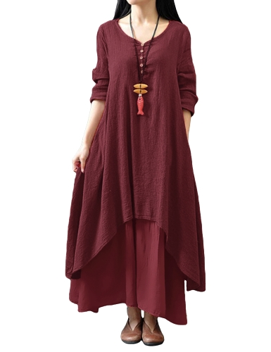 New Fashion Women Casual Loose Dress Solidna długa sukienka Boho Long Maxi