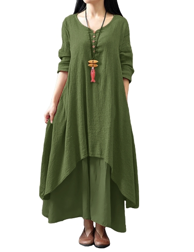 Vestido largo flojo ocasional de las nuevas mujeres de la manera Vestido largo sólido de Boho de la manga larga