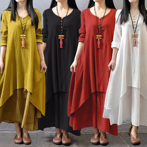 Fashion Women Casual Loose Dress Solid Long Sleeve Cotton Linen Boho Long Maxi Dress, TOMTOP  - buy with discount