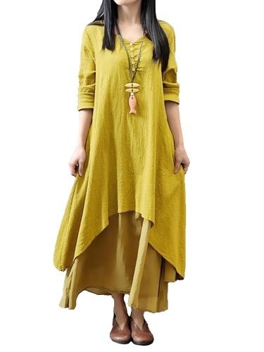 cc7038f09d New Fashion Women Casual Loose Dress Solid Long Sleeve Boho Long Maxi Dress  ...