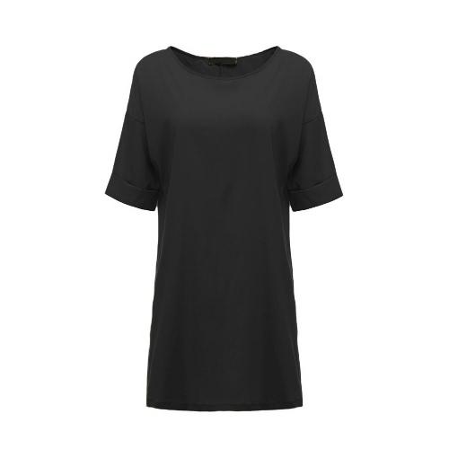 New Fashion Women Casual Luźna suknia Jednolity kolor krótkim rękawem damska Mini Sukienka Szary / Czarny / Khaki