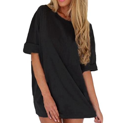 Nuevas mujeres forman el vestido flojo ocasional del color sólido de manga corta de las señoras mini vestido gris / Negro / caqui