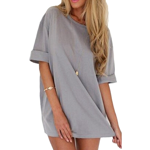 Fashion Women Casual Loose Dress Solid Color Short Sleeve Ladies Mini Dress Grey/Black/Khaki, TOMTOP  - buy with discount