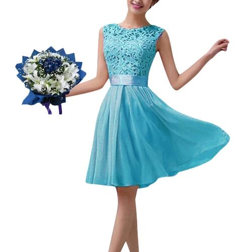 Nowe mody Kobiety szyfon koronki suknia bez rękawów O Neck Jednolity kolor elegancki księżniczka Party Dress
