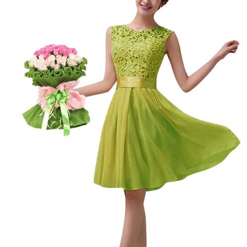 Vestido sin mangas de las n cordón de la gasa del cuello de O color sólido vestido elegante de la fiesta de la princesa
