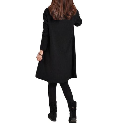 Outono Inverno Mulheres Vestido Plus Size mangas compridas Pockets Sólidos Pescoço V solta Vestido