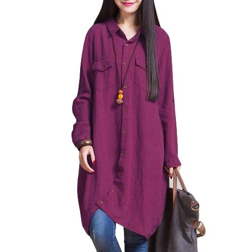 Las nuevas mujeres de lino del algodón blusa larga irregular del dobladillo Botones ocasionales flojas Top Vintage camisa blanca / púrpura / azul oscuro
