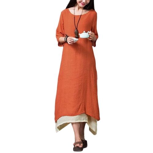 New Women Vintage Dress Split Irregular Hem Casual Loose Boho Long Maxi Dresses Orange/Army Green/Coffee