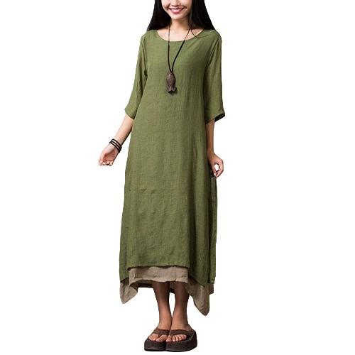 Las nuevas mujeres de la vendimia vestido de algodón de lino de Split dobladillo irregular floja ocasional de Boho maxi largo vestidos de naranja / verde del ejército / café