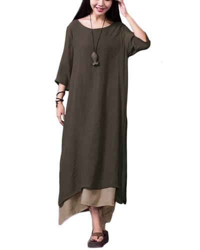 Nuevas mujeres Vestido vintage Split dobladillo irregular Casual flojo Boho largo Maxi vestidos naranja / ejército verde / café