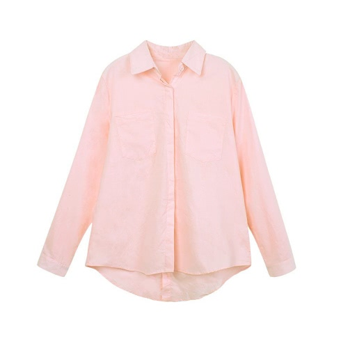 Fashion Women Loose Shirt Solid Turn-Down Collar Long Sleeve Pocket Casual Blouse Tops White/Pink, TOMTOP  - buy with discount