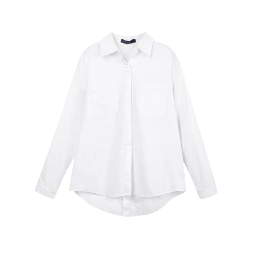 Nueva manera de las mujeres camisa floja sólido Turn-Down cuello manga larga ocasional del bolsillo de tapas de la blusa blanco / rosa