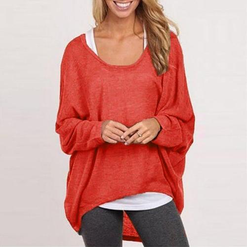 La nueva manera de las mujeres blusas o cuello Batwing manga larga Hem irregular floja ocasional Camisas Solid Top 9 colores