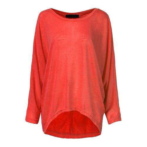 Новая мода Женщины Блузы O шеи Batwing длинным рукавом Нерегулярные Хем Повседневный Сыпучие Твердые рубашки Top 9 цветов фото