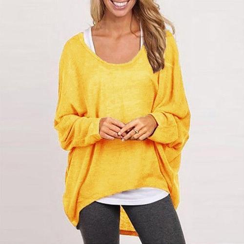 New Fashion Women Blouses O neck Batwing Sleeve Hem Casual Loose Shirts