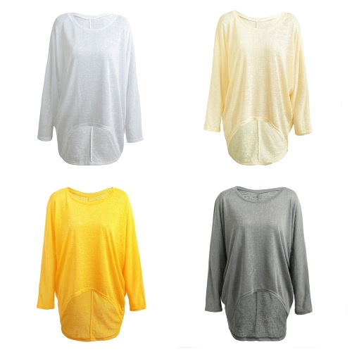 Fashion Women Blouses O neck Batwing Long Sleeve Irregular Hem Casual Loose Solid Shirts Top 9 Colors, TOMTOP  - buy with discount