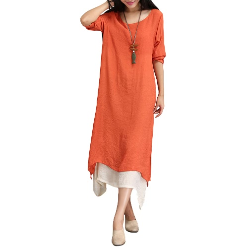 Kobiety Cotton Linen Vintage Sukienka Kontrast Double Layer Casual Luźny Boho Długa Plus Size Retro Maxi Dress