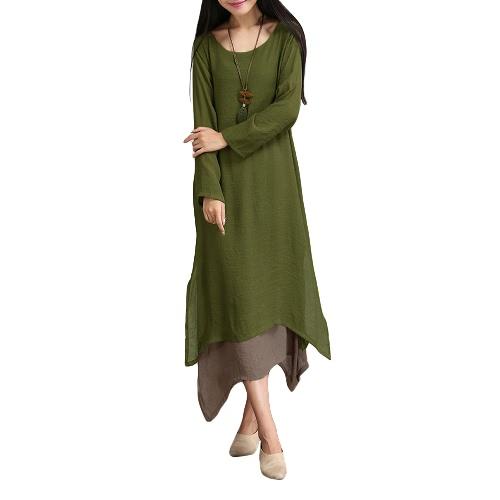 Women Cotton Linen Vintage Dress Contrast Double Layer Casual Loose Boho Long Plus Size Retro Maxi Dress G8224DGR-XL
